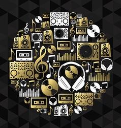 Music dj concept icon set vinyl cd shape gold vector image vector image