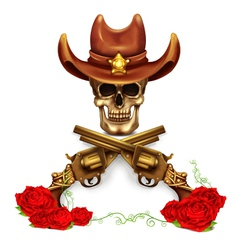 Sheriff Skull In Cowboy Hat And With Gun vector image