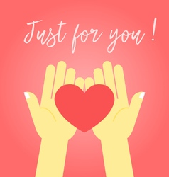 Two hands holding the heart vector image