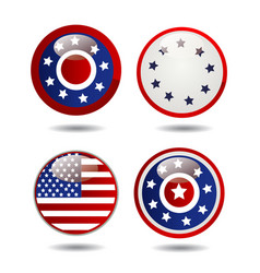 united states flag glossy buttons vector image vector image