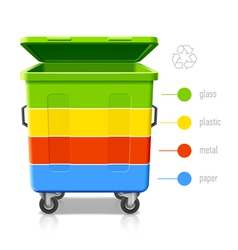 Recycling bins colors infographic vector image