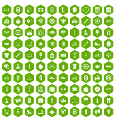 100 kettlebell icons hexagon green vector image