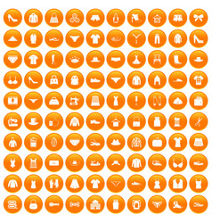 100 sewing icons set orange vector