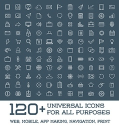 120 Universal Icons Set For All Purposes Web vector