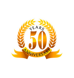 50 years ribbon anniversary vector