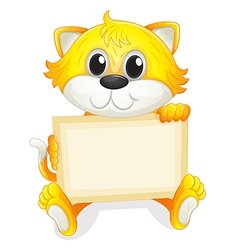 A happy kitten with an empty board vector image