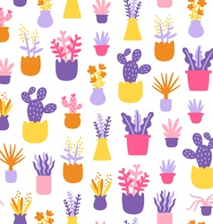 Abstract home plants colorful seamless pattern vector image
