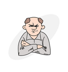 angry man with folded arms vector image
