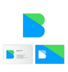 b logo flat monogram business card vector image