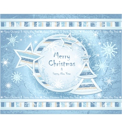 Background with Christmas Tree stars snowflakes vector image