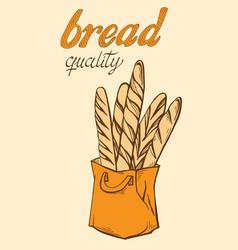 baguette in paper bag vector image