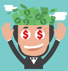 banknotes in businessman bald head vector image