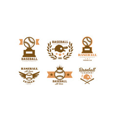 baseball logo set retro emblem for baseball vector image