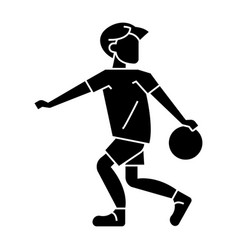 basketball player with ball icon vector image