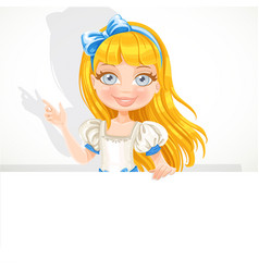 Beautiful cute girl hold big white banner vector