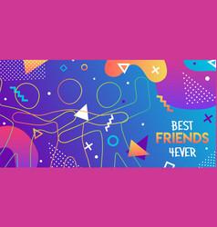 Best friends card retro 90s friend group hug vector