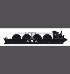 black silhouette of a huge ocean tanker for vector image