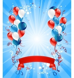 Blue red and white balloons vector