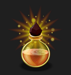 bright potion transparent glass bottle with ruby vector image
