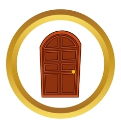Brown arched wooden door icon vector image
