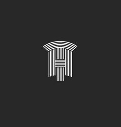 Capital letters th logo black and white vector