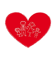 Cartoon family in heart vector