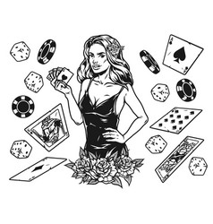casino and gambling vintage monochrome concept vector image