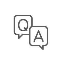 Chat cloud question with answer sign line icon vector