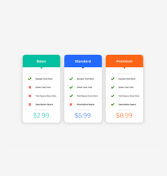 Clean simple pricing table template for website vector
