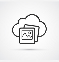 cloud photo flat line trendy black icon eps10 vector image