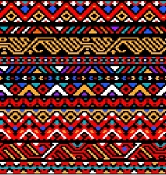 Colorful red ethnic geometric striped aztec vector image