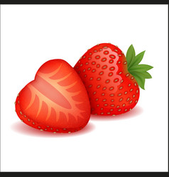 Composition cut and whole strawberries vector
