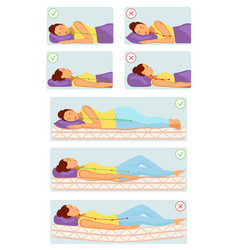 correct and incorrect sleeping poses vector image