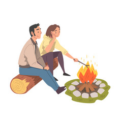 Couple sitting near campfire tourist people vector