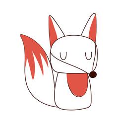 cute little fox animal cartoon isolated design vector image