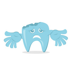 Dental decay cartoon with sad face and damage vector