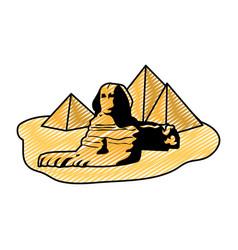 Doodle famous giza egypt sculpture pyramids vector