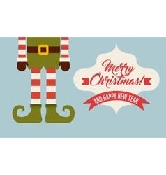 Elf legs cartoon icon Merry Christmas design vector