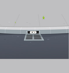 Eyes spying inside pavement gutter hole vector