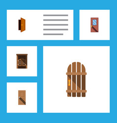 flat icon approach set of wooden fence entry vector image