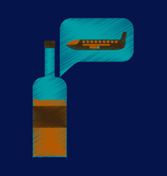 Flat icon in shading style airplane wine vector