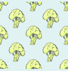 Fresh broccoli inside endless texture vector