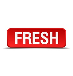 Fresh red 3d square button isolated on white vector image