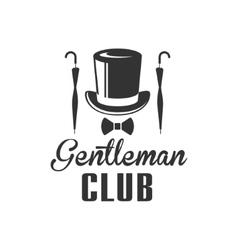 Gentleman Club Label Design With Umbrella vector image