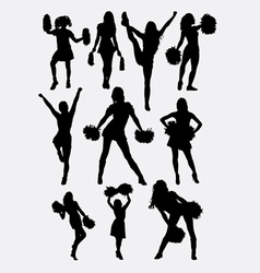 Girl cheerleader pose silhouette vector