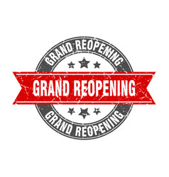 Grand reopening round stamp with red ribbon grand vector