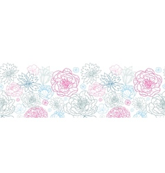 Gray and pink lineart florals horizontal seamless vector image
