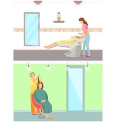 Hair styling washing and haircut expert set vector