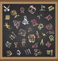 hand drawn school color icon on chalkboard vector image