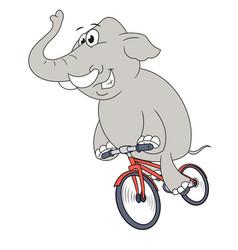 happy elephant riding bicycle 2 vector image